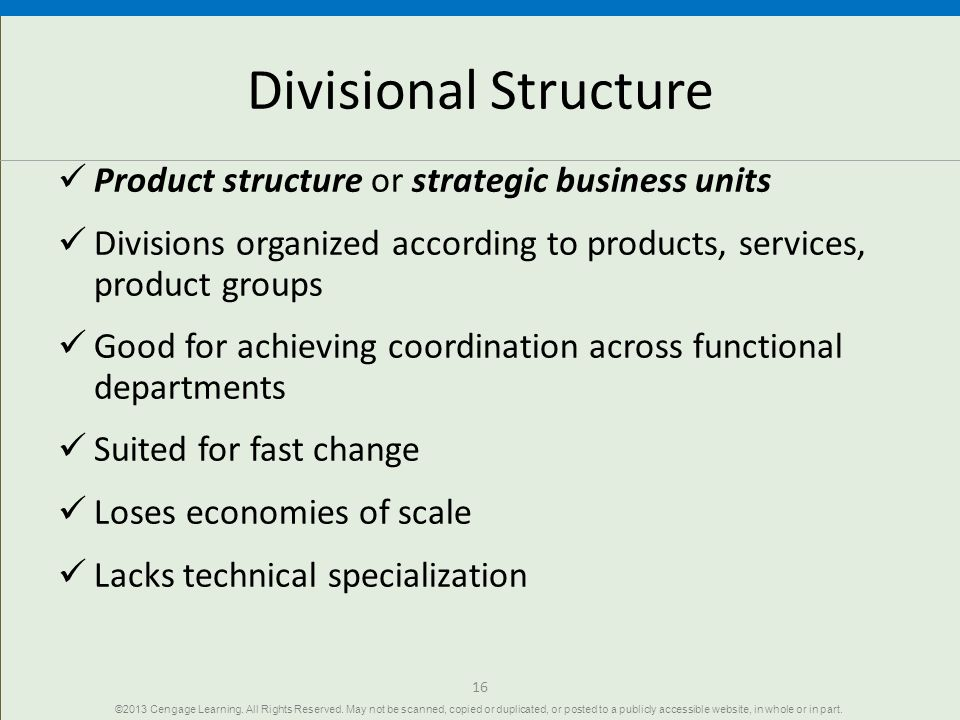 Divisional Structure Product structure or strategic business units