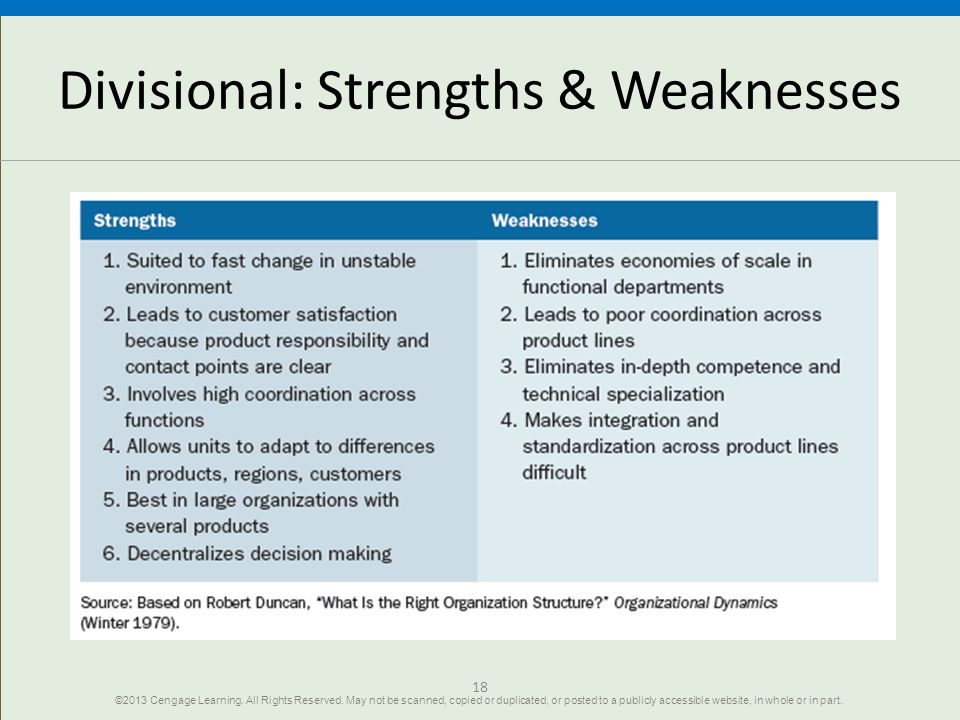 Divisional: Strengths & Weaknesses