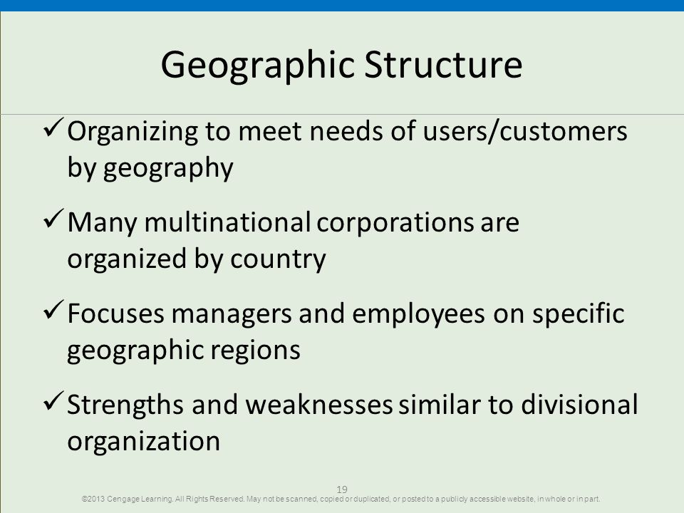 Geographic Structure Organizing to meet needs of users/customers by geography. Many multinational corporations are organized by country.