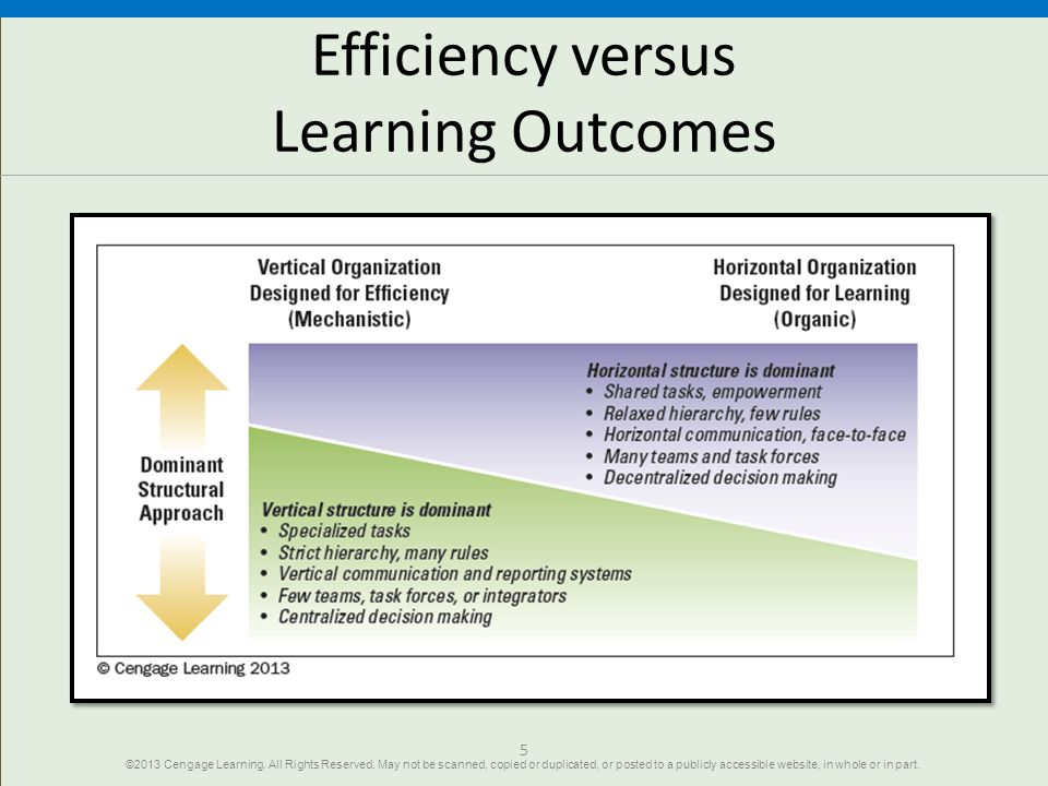 Efficiency versus Learning Outcomes