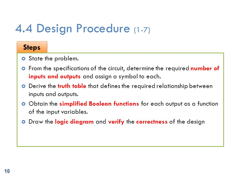 4.4 Design Procedure (1-7) Steps State the problem.