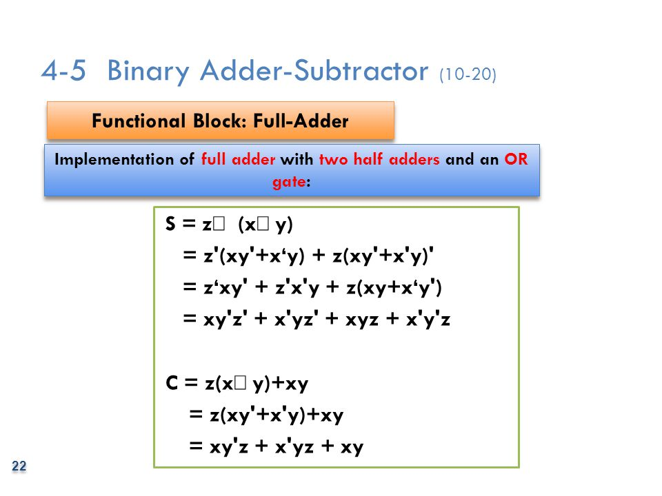 4-5 Binary Adder-Subtractor (10-20)