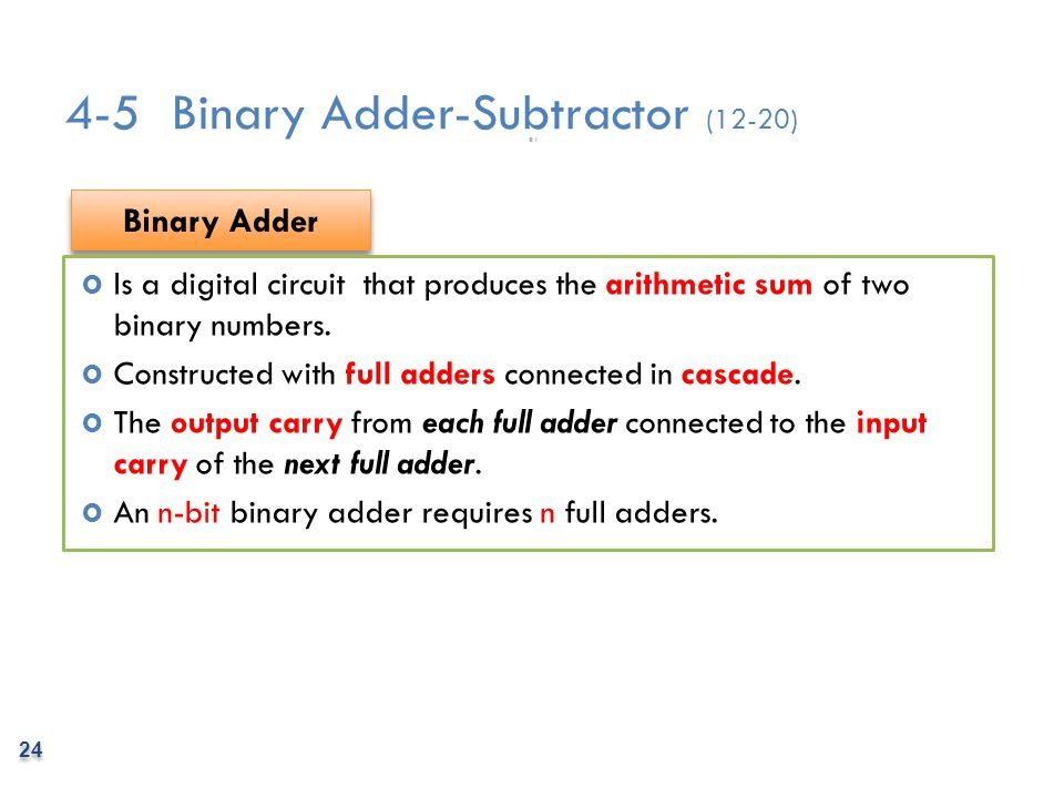 4-5 Binary Adder-Subtractor (12-20)