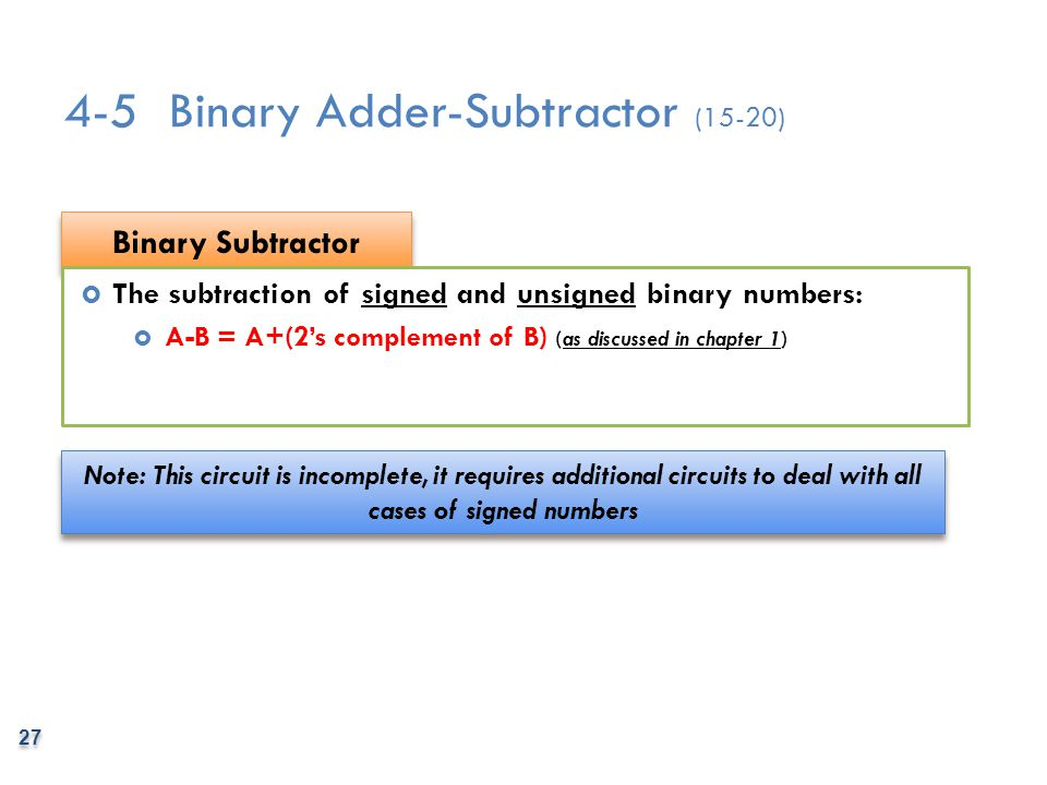 4-5 Binary Adder-Subtractor (15-20)