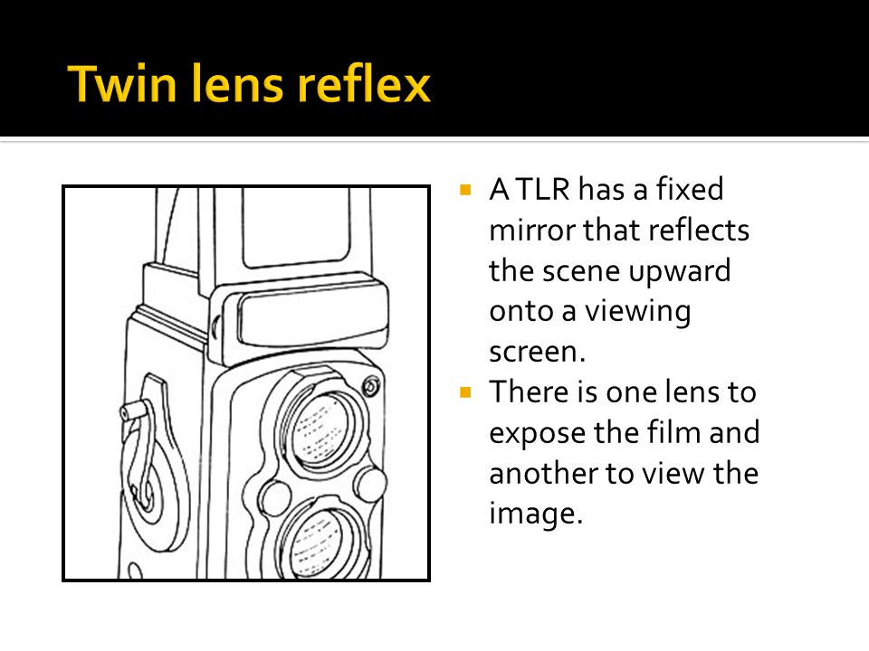 Twin lens reflex A TLR has a fixed mirror that reflects the scene upward onto a viewing screen.