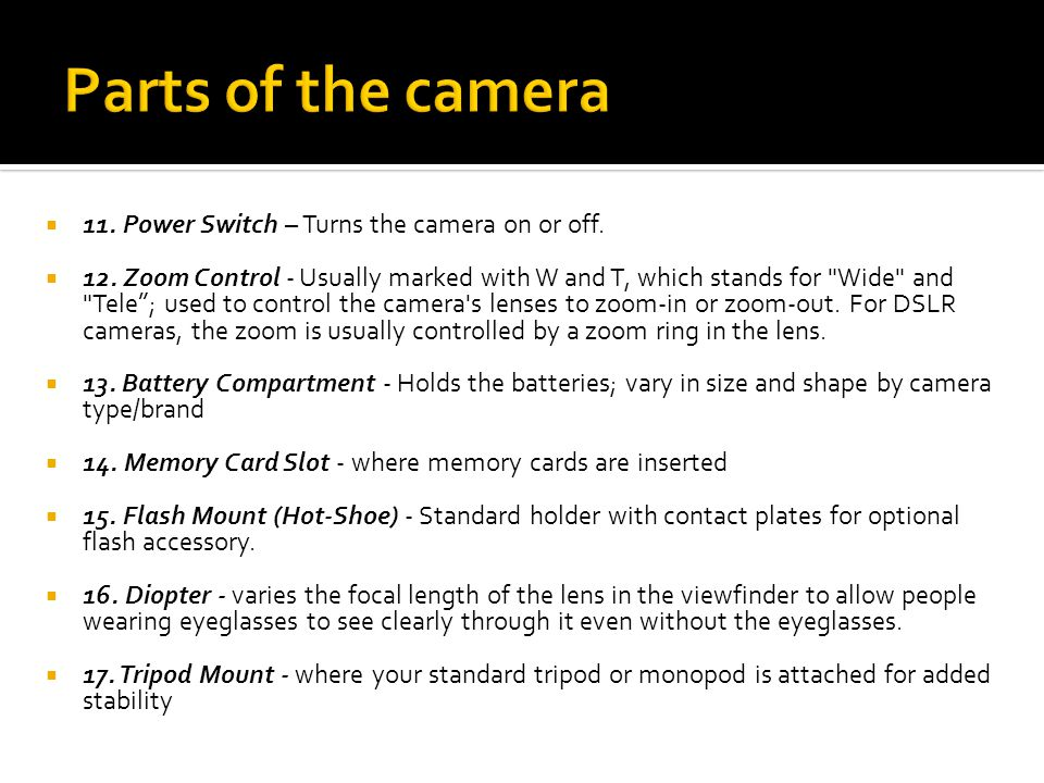 Parts of the camera 11. Power Switch – Turns the camera on or off.