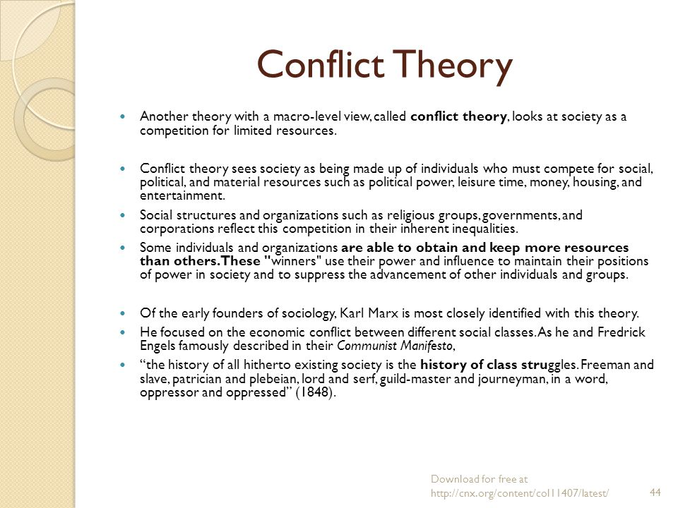 conflict theory sociology In classical sociology edit of the classical founders of social science, conflict theory is most commonly associated with karl marx (1818–1883.