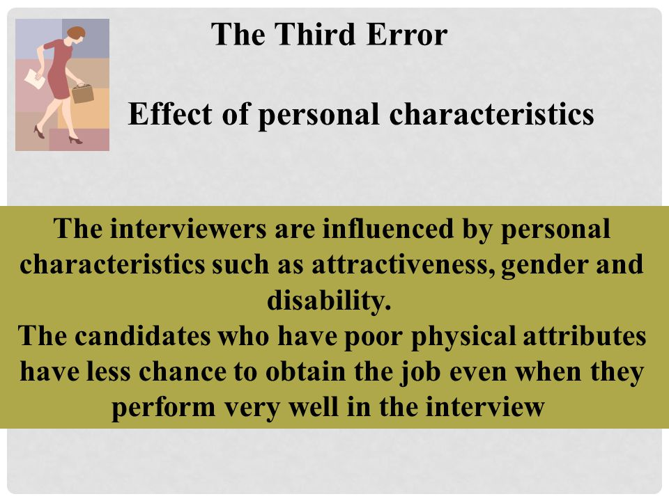 Effect of personal characteristics