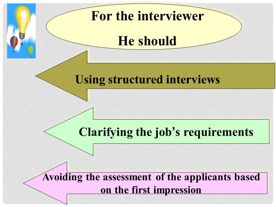 Using structured interviews Clarifying the job's requirements