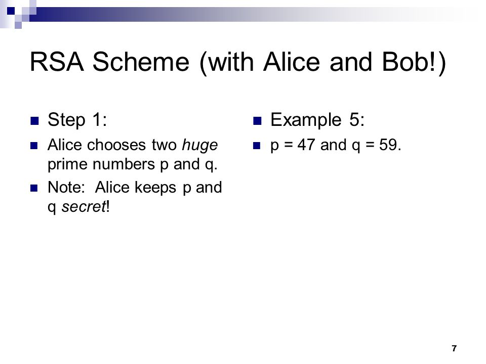 RSA Scheme (with Alice and Bob!)