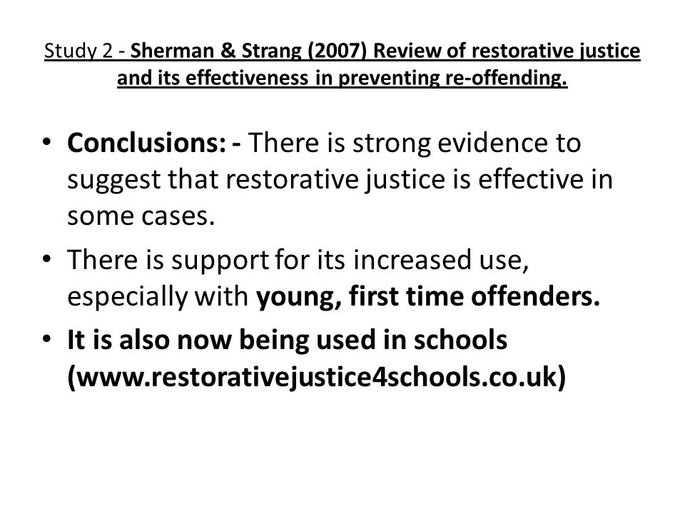 young offenders an evaluation of restorative justice Key words: restorative justice, sex offender, recidivism, risk management  one  of the underlying facets of sexual crime, particularly child sexual abuse, is that   the preponderance of evaluation studies have been carried out on the two main .