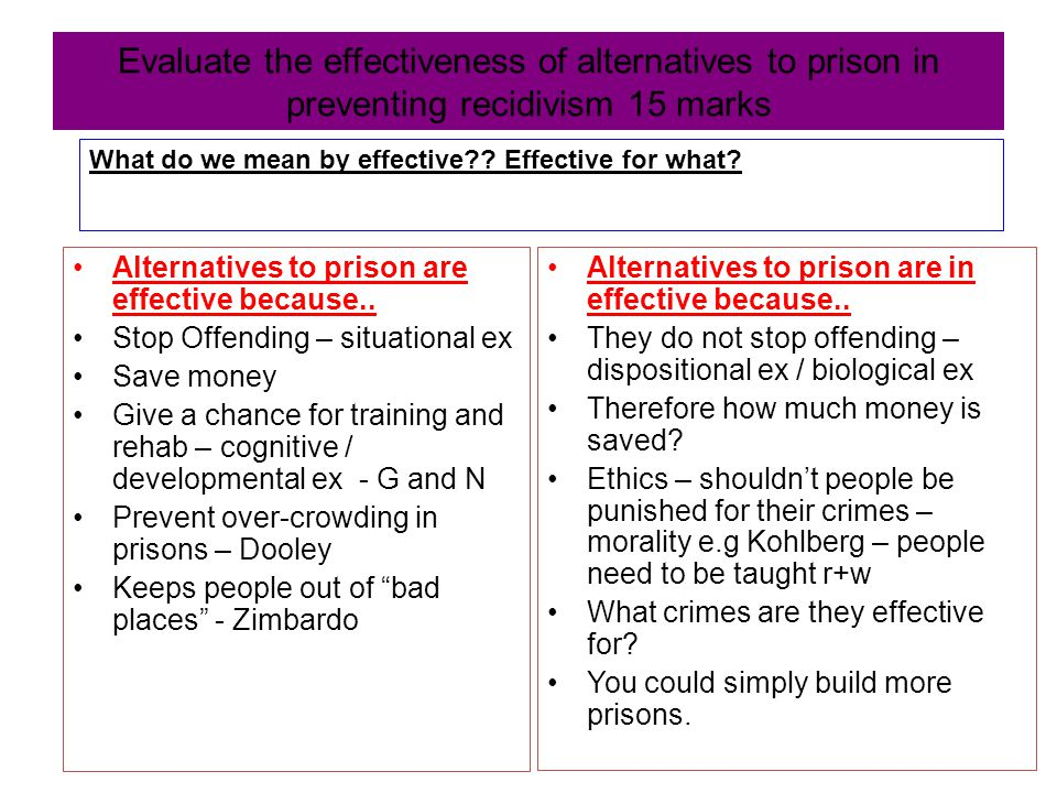 the efficiency of the rehabilitation of criminals and possible alternatives Could be made possible through the eclectic approach adopted in this  and  rehabilitation facilities for both prison officers and prisoners have  miss the  point because rehabilitation is for punishment, or more broadly, for the efficient.