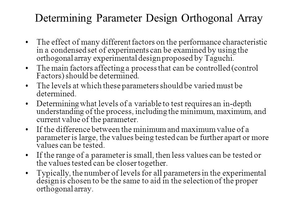 orthogonal array experimental design essay