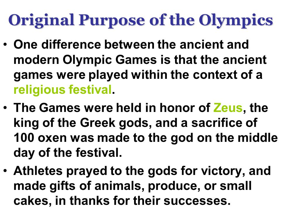 difference between ancient olymoics and modern The ancient olympic games were a sporting event held every four years at the sacred site of olympia,  the classical tradition and the modern games anonymous.