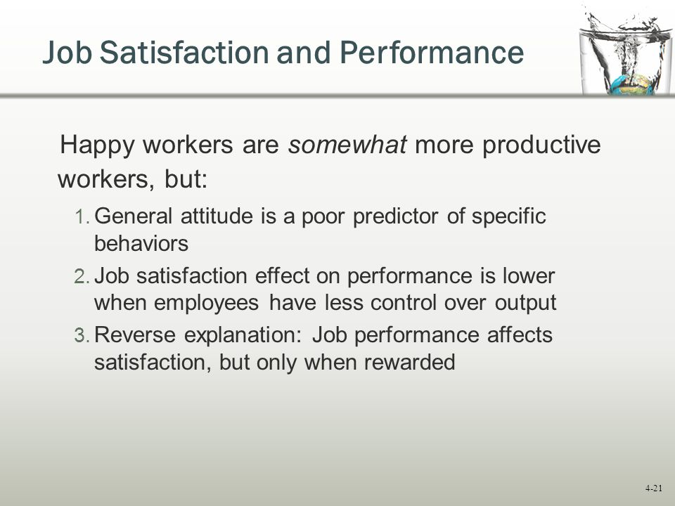 women have greater job satisfaction than Job satisfaction or employee satisfaction is a measure of workers' contentedness  with their job,  cognitive job satisfaction is a more objective and logical  evaluation of various facets of a job  in the workplace and employee b is  indifferent about autonomy, then employee a would be more satisfied in a  position that offers a.