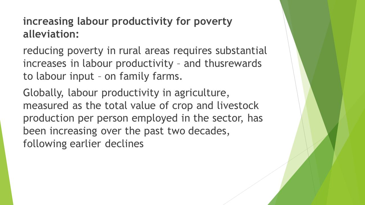 increasing labour productivity for poverty alleviation: reducing poverty in rural areas requires substantial increases in labour productivity – and thusrewards to labour input – on family farms.