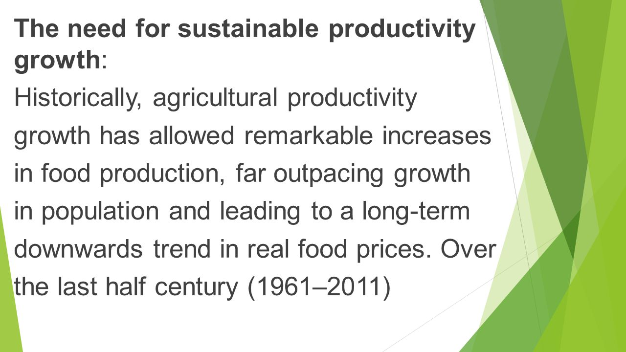 The need for sustainable productivity growth: Historically, agricultural productivity growth has allowed remarkable increases in food production, far outpacing growth in population and leading to a long-term downwards trend in real food prices.