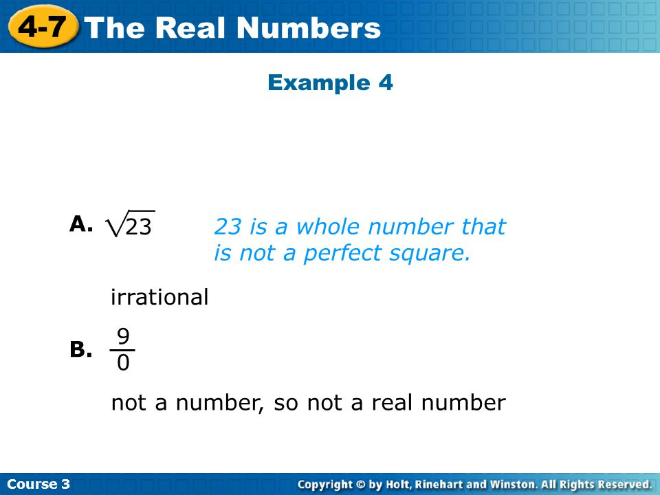 Example 4 A is a whole number that is not a perfect square.