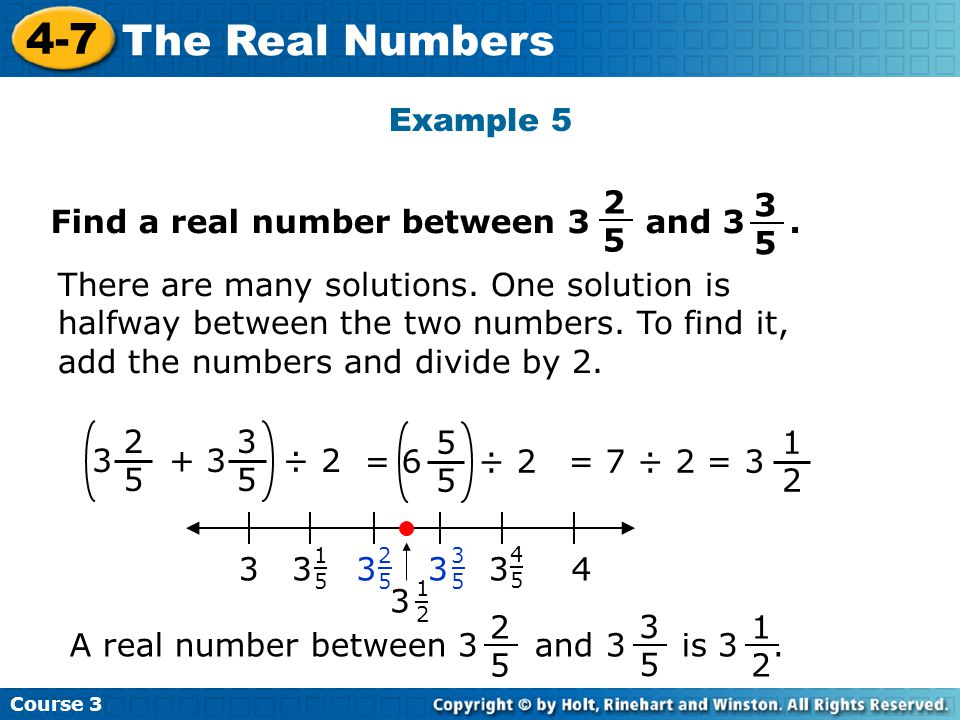 Find a real number between 3 and