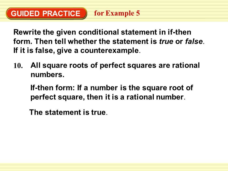 Example  Rewrite A Conditional Statement In IfThen Form  Ppt Download
