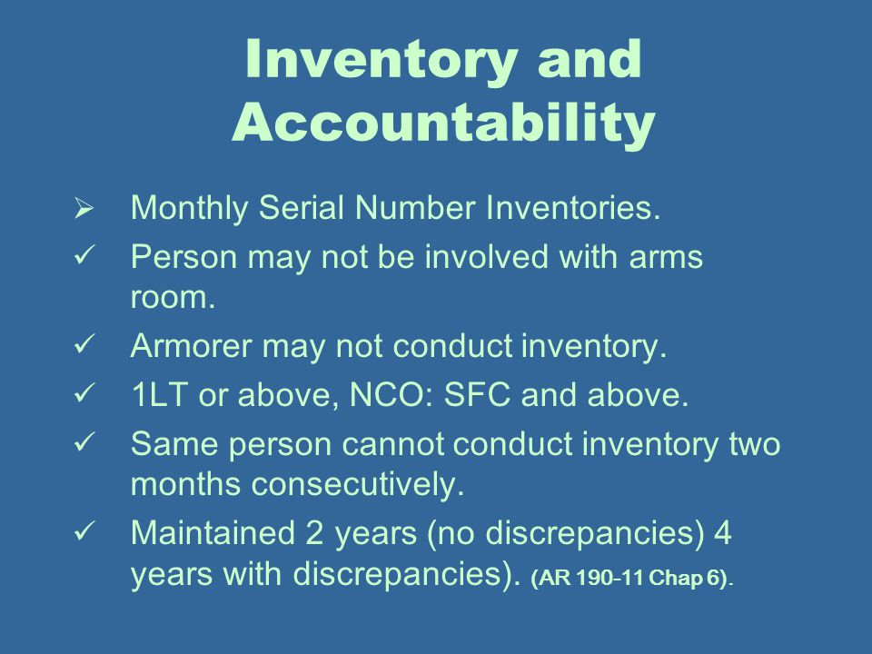 Inventory and Accountability