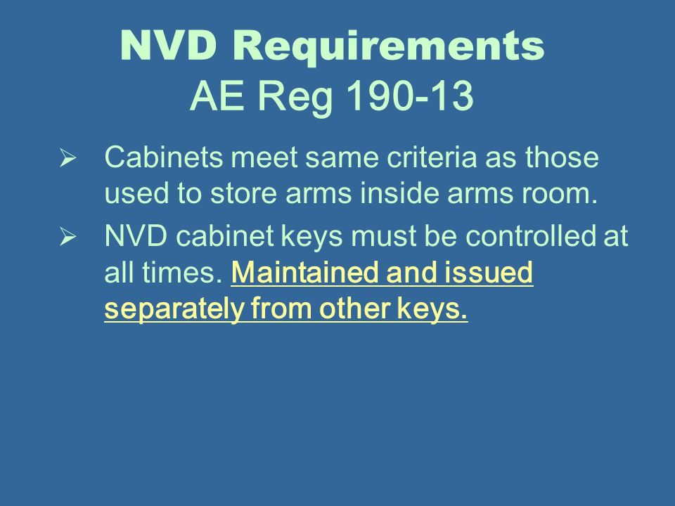 NVD Requirements AE Reg 190-13