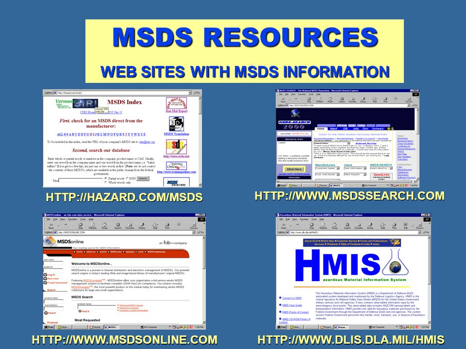 WEB SITES WITH MSDS INFORMATION
