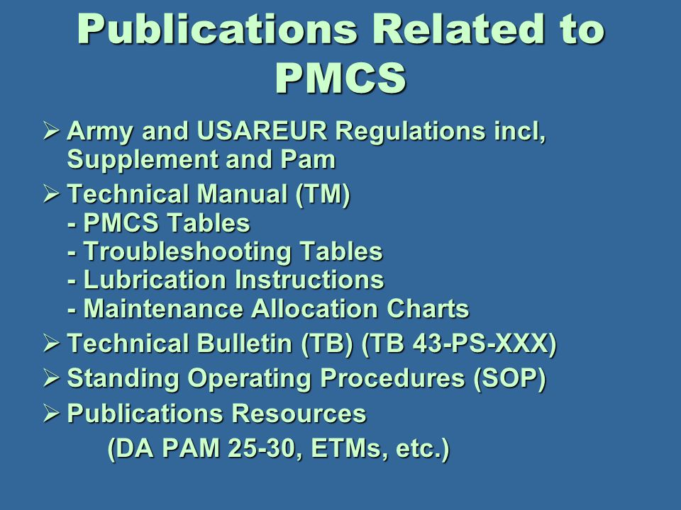 Publications Related to PMCS
