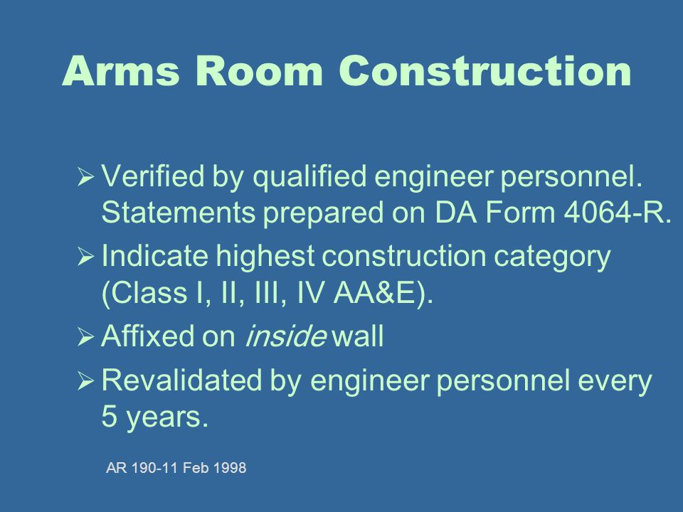 Arms Room Construction