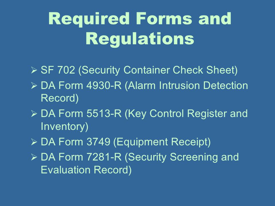 Required Forms and Regulations