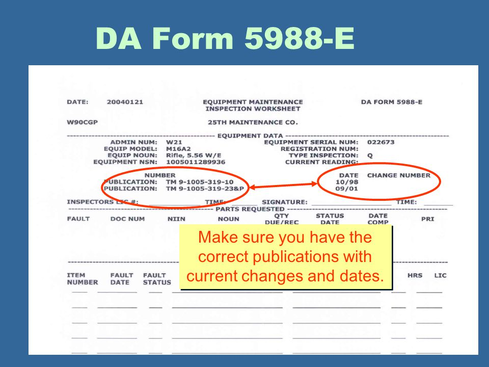 DA Form 5988-E Make sure you have the correct publications with current changes and dates.