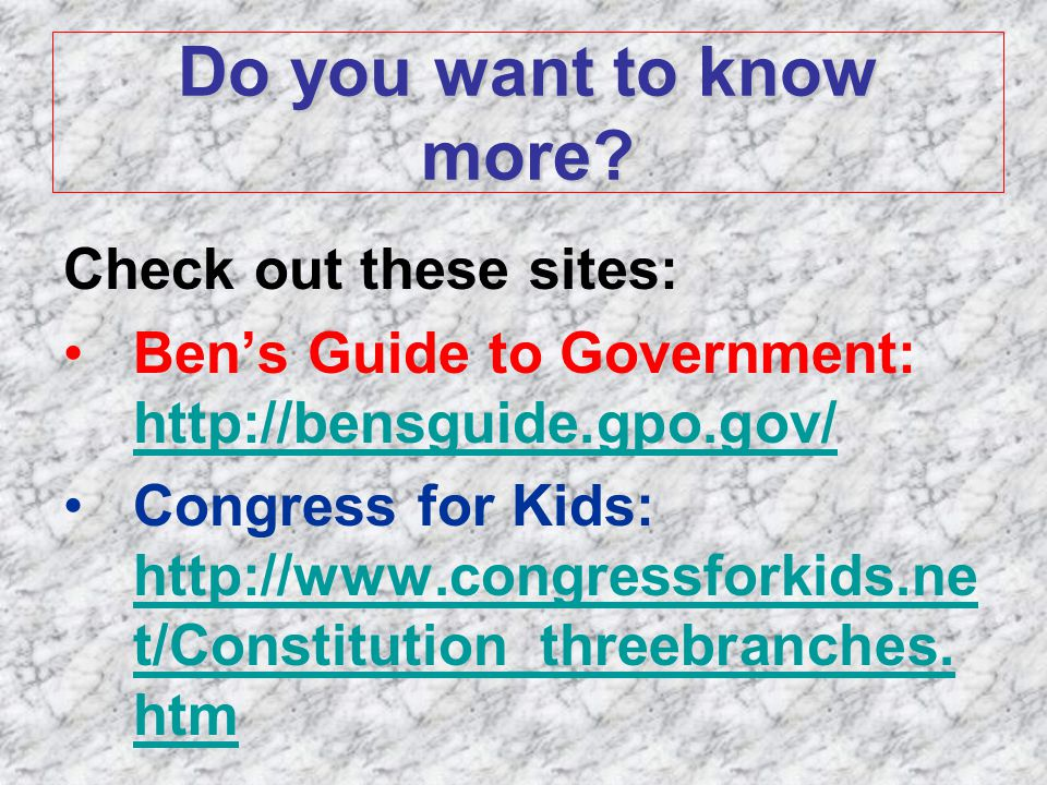 Ben's guide to U.S. government for kids : http://bensguide ...