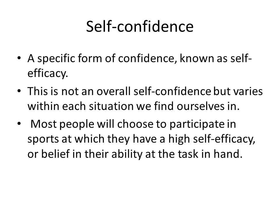 self confidence and sports performance