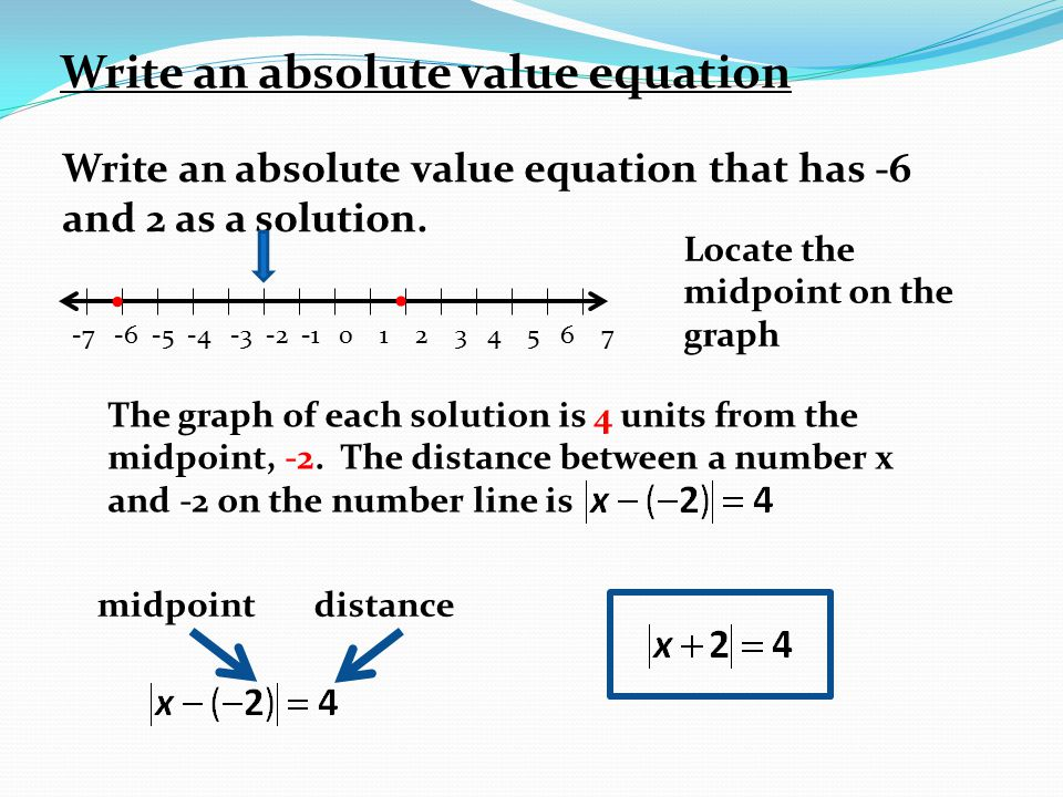 How To Write And Solve An Absolute Value Equation With 2