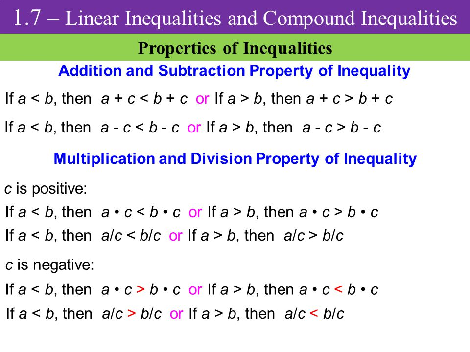 1.7 – Linear Inequalities and Compound Inequalities - ppt ...