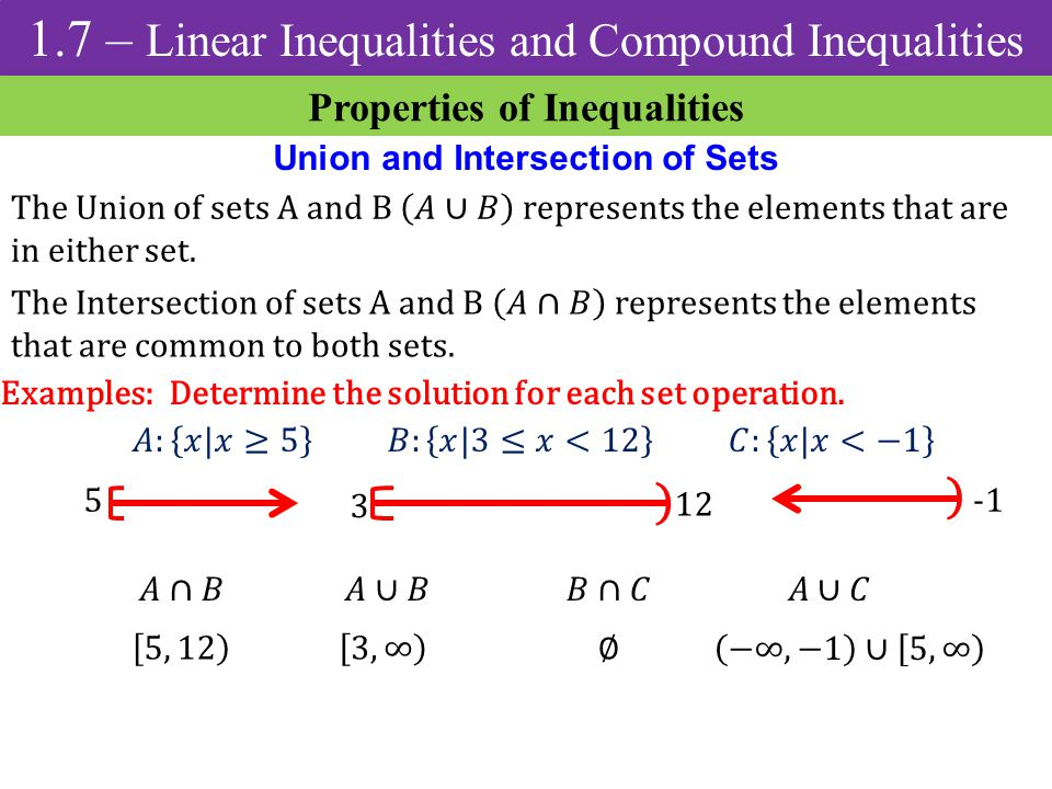 Properties of Inequalities Union and Intersection of Sets