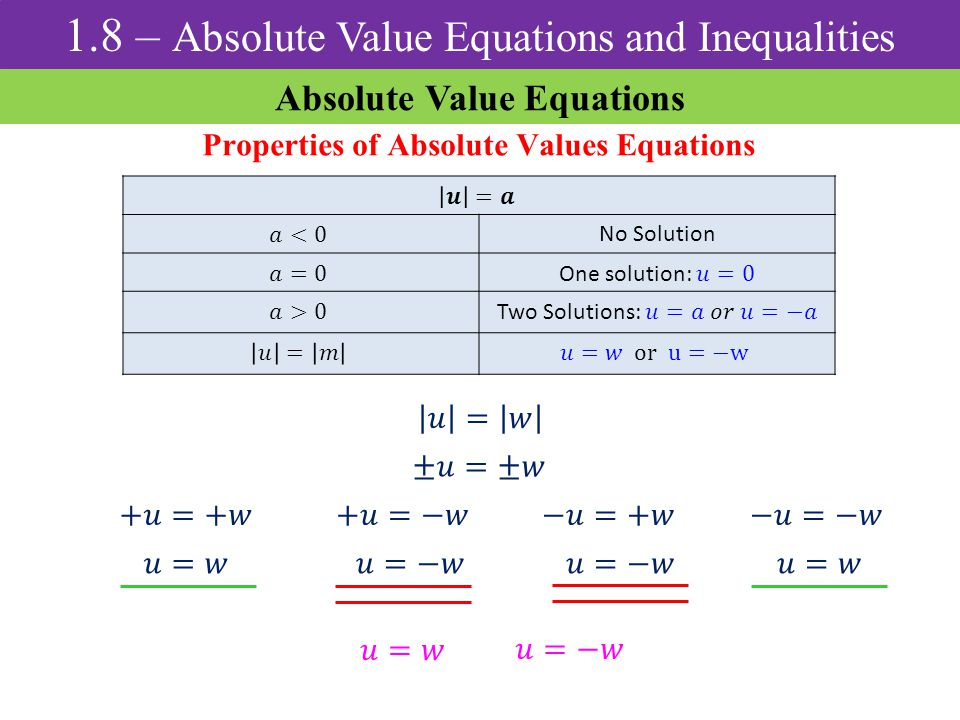Absolute Value Equations Properties of Absolute Values Equations