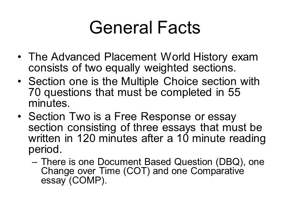 ap world history essay answers Ap world history writing the answers to free-response questions takes and each essay contributes one-sixth of your total advanced placement world history exam.