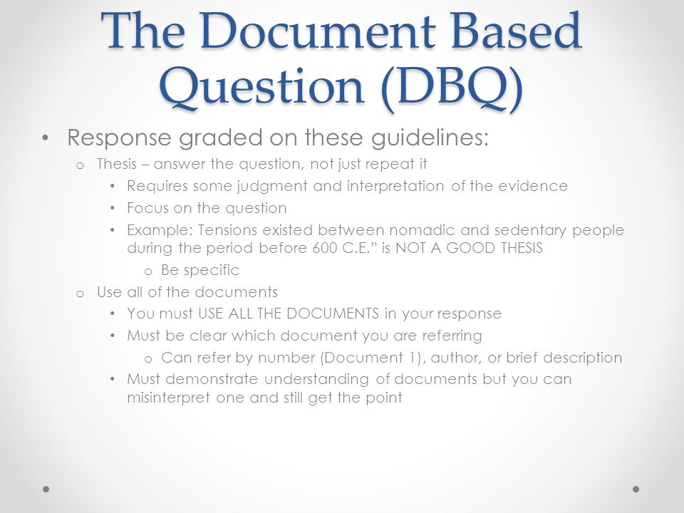 dbq response essay example Every dbq example essay you could ever need, by exam you can also look at older college board us history dbq example response sets, all the way back to 2003.