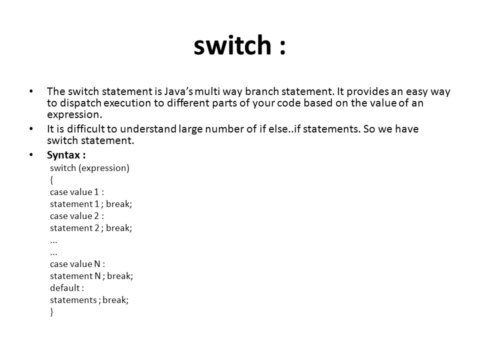 Java control statement ppt video online download - Switch case java ...