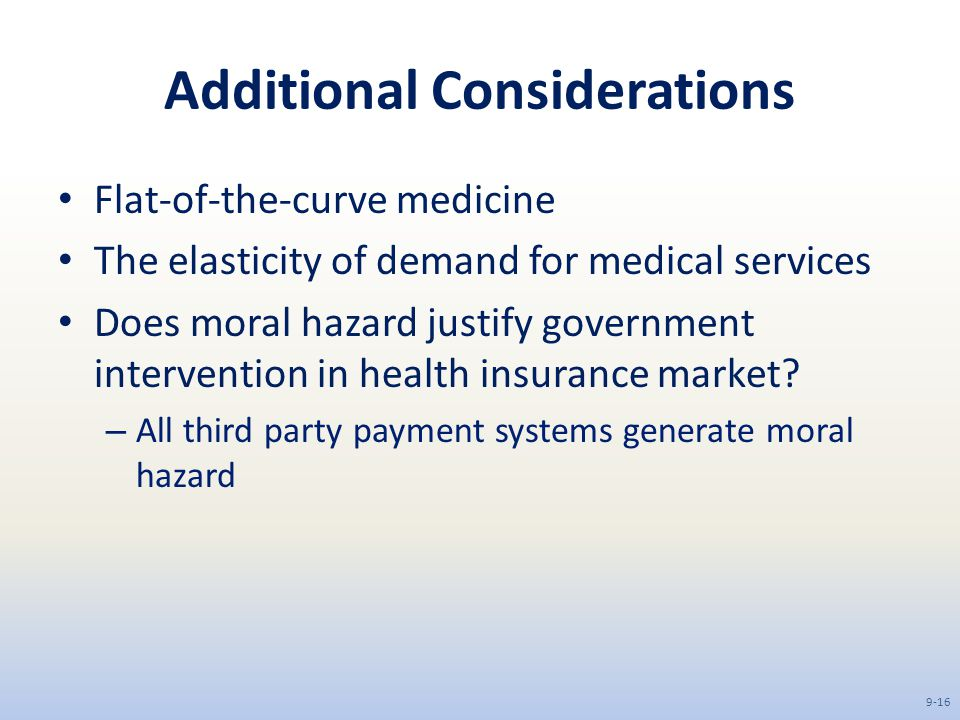 government intervention in the health care market Government intervention to correct for market failure the govt will often provide goods and services directly these services will be free at the point of use and paid for out.