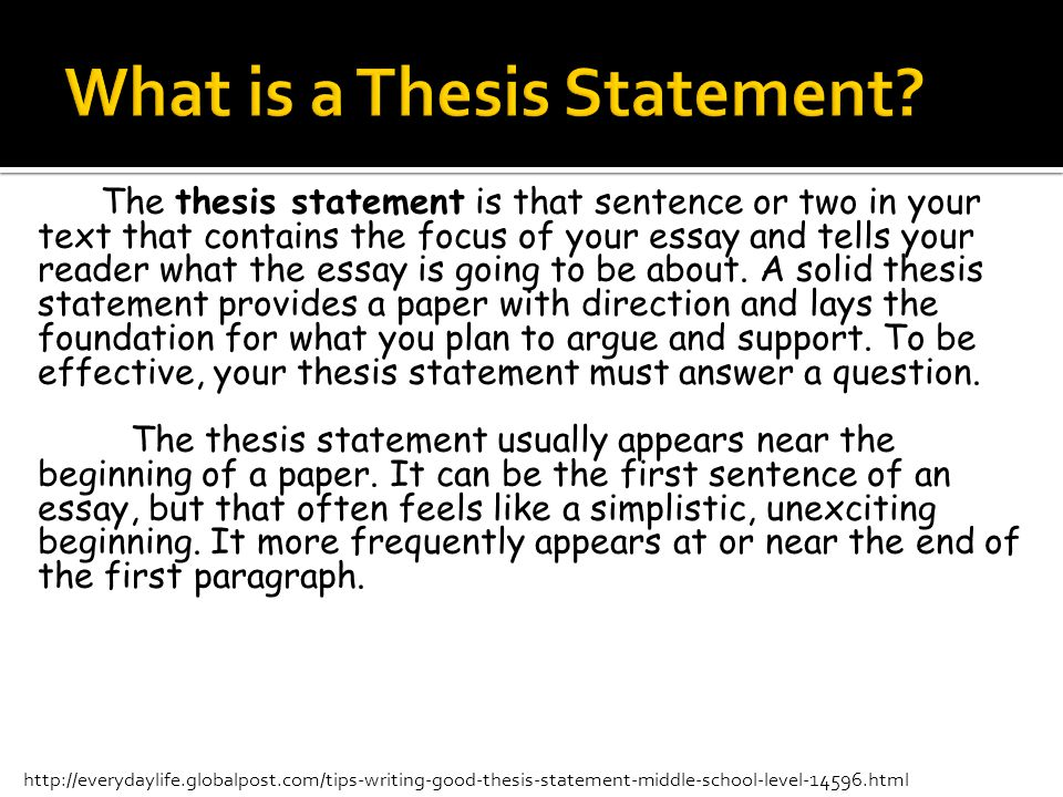 Help me writing a thesis middle school ppt