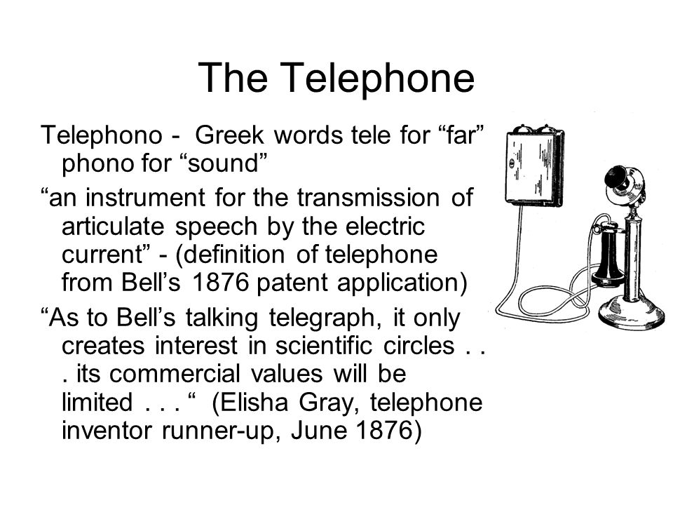 The Telephone Telephono - Greek words tele for far phono for sound