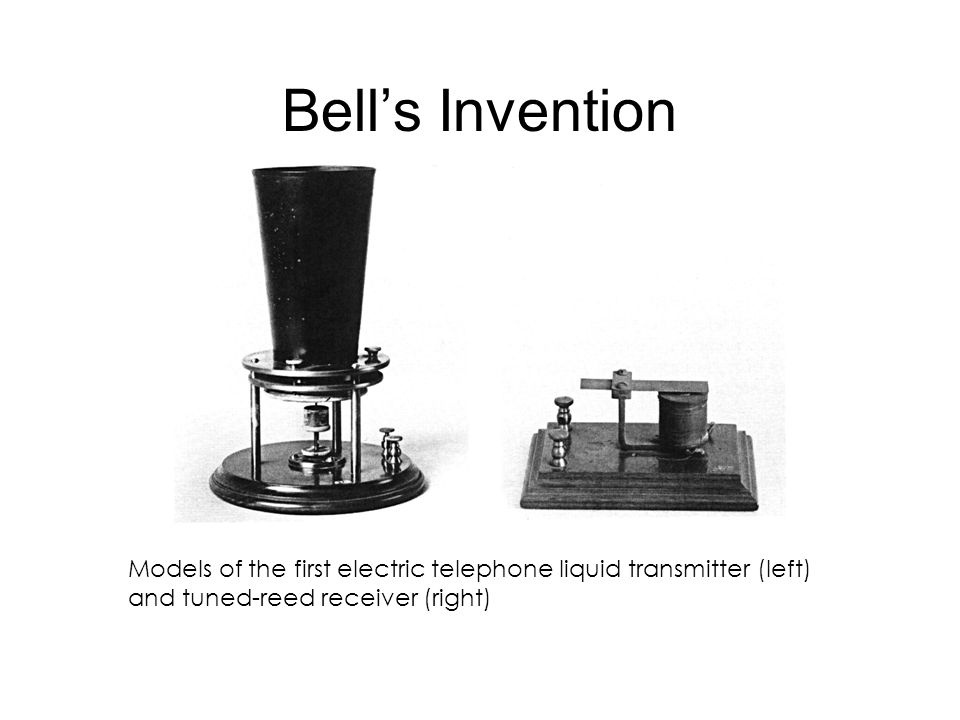 Bell's Invention Models of the first electric telephone liquid transmitter (left) and tuned-reed receiver (right)