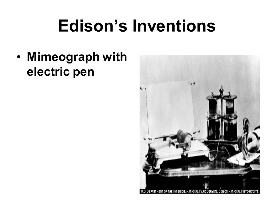 Edison's Inventions Mimeograph with electric pen