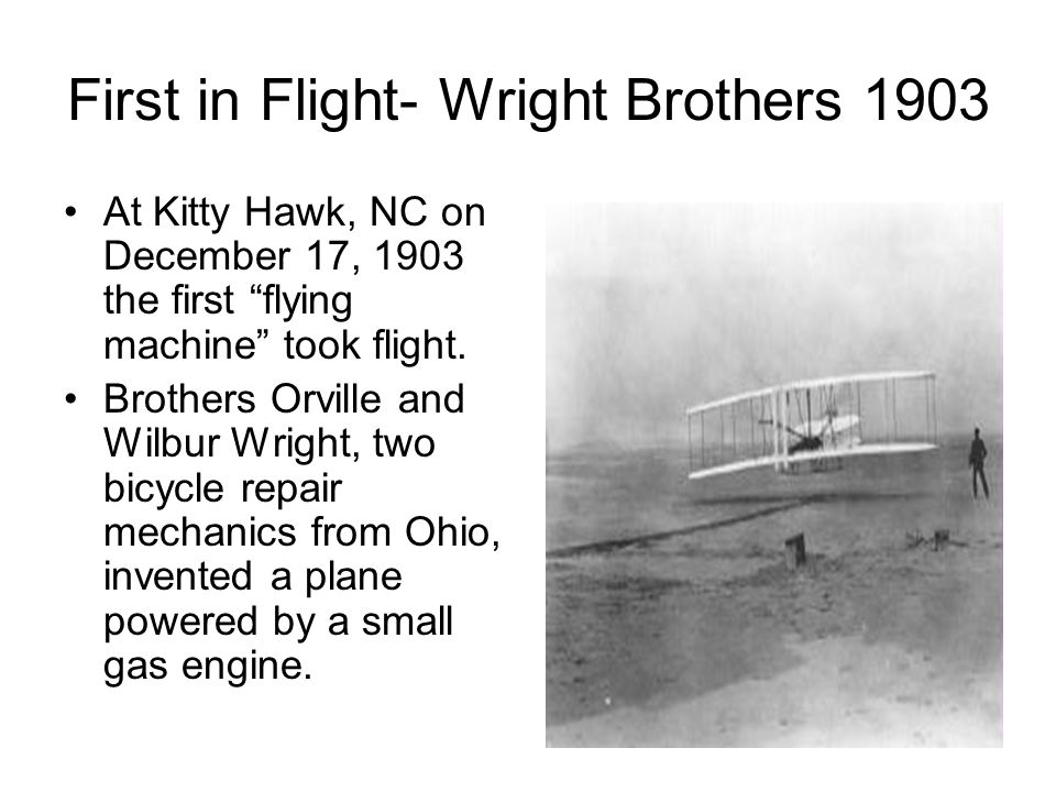 First in Flight- Wright Brothers 1903