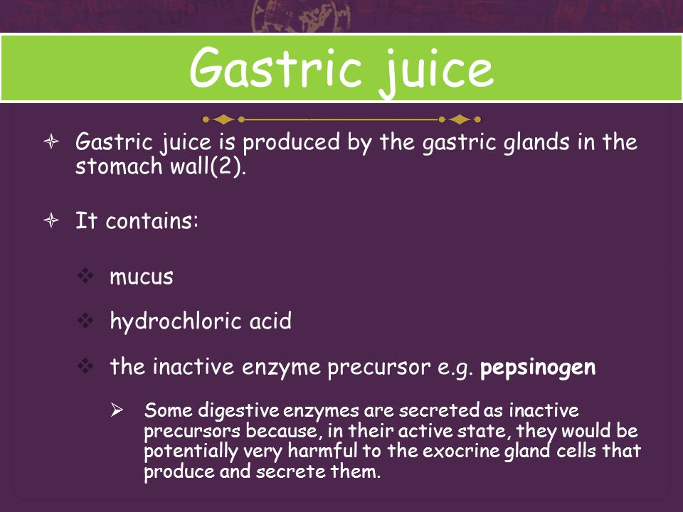 Gastric juice Gastric juice is produced by the gastric glands in the stomach wall(2). It contains: