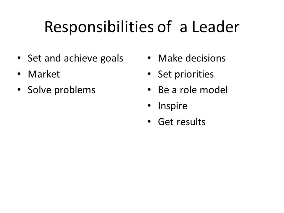 Responsibilities of a Leader