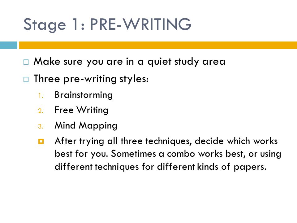 Stage 1: PRE-WRITING Make sure you are in a quiet study area