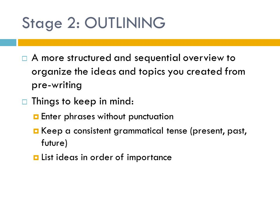 Stage 2: OUTLINING A more structured and sequential overview to organize the ideas and topics you created from pre-writing.